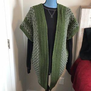Handmade crochet kimono olive green/marble green
